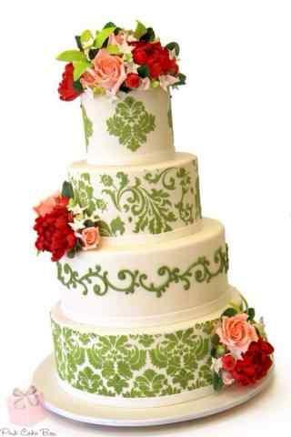 翻糖蛋糕创意绿色藤蔓红色花卉手机壁纸
