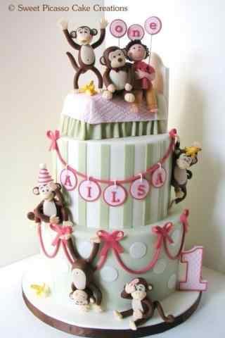 翻糖蛋糕创意可爱小猴子手机壁纸