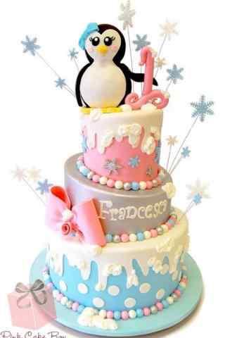 翻糖蛋糕创意小企鹅手机壁纸
