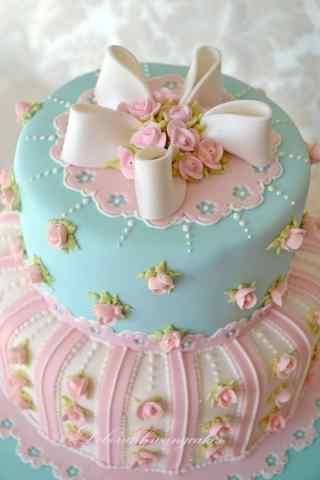 翻糖蛋糕蓝粉色可爱蝴蝶结手机壁纸