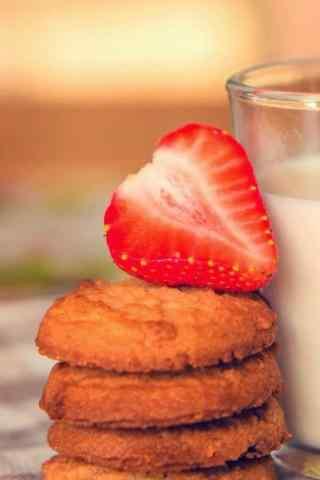 饼干曲奇饼干草莓手机壁纸