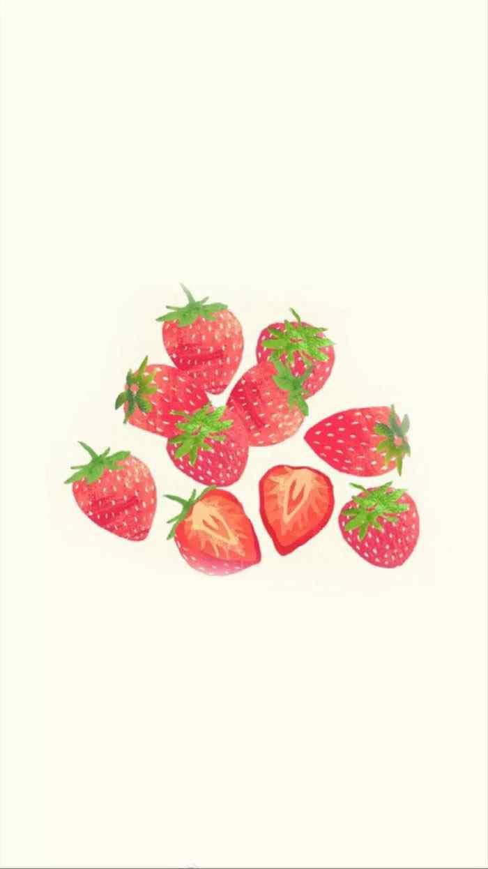 一堆草莓清新可爱手机壁纸