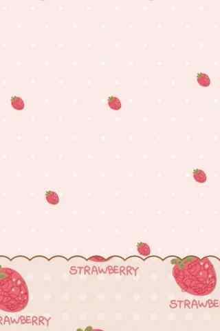 小清新可爱草莓粉色手机壁纸