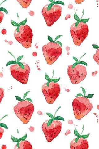 清新水彩草莓手机壁纸