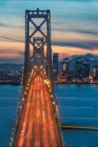 旧金山金银岛夜景街道手机壁纸
