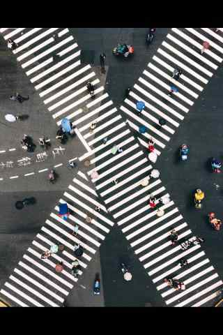 城市马路上交错的斑马线桌面壁纸