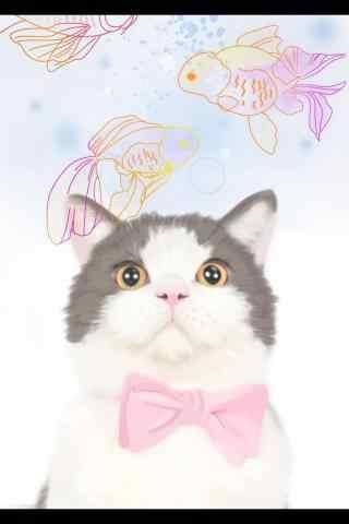 蠢萌可爱的猫咪手绘手机壁纸