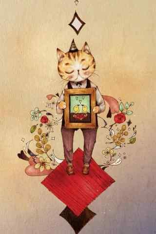 一只可爱的猫咪手绘手机壁纸
