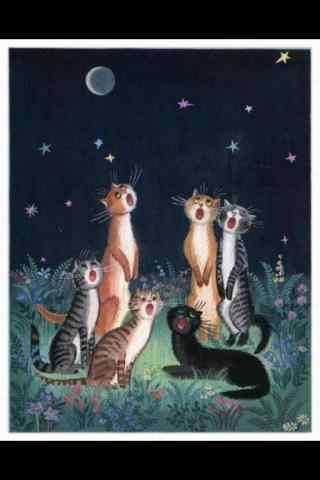 一群可爱的猫咪手绘手机壁纸