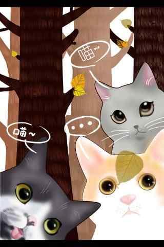 三只可爱的猫咪手绘手机壁纸