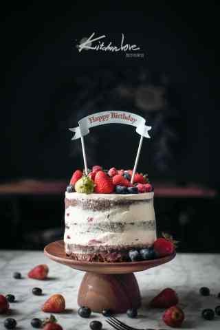 香甜可口的蓝莓草莓蛋糕手机壁纸