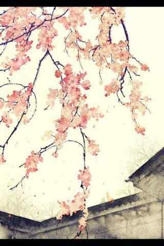 手绘桃花古风风景手机壁纸