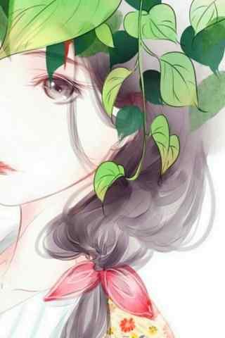手绘美女身上环绕着绿萝手机壁纸