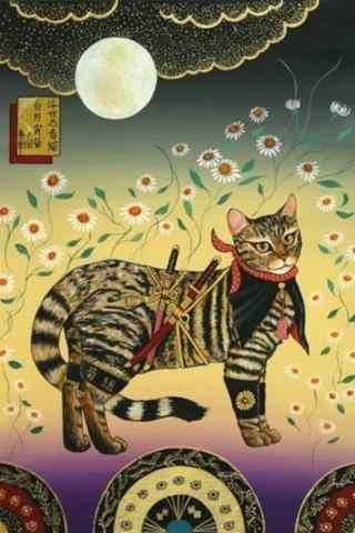 独特的手绘忍者猫咪手机壁纸