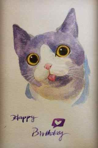 可爱吐舌头猫咪手绘手机壁纸