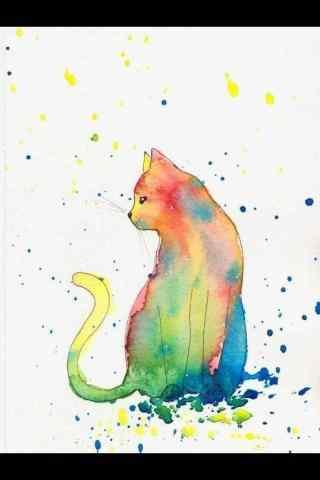 美丽的手绘猫咪手机壁纸