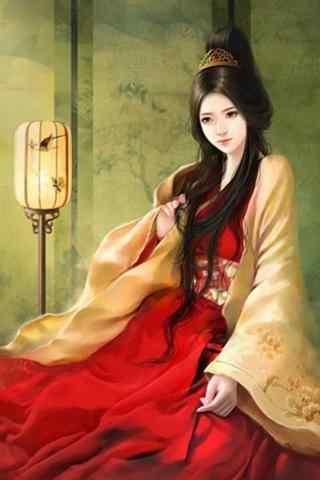 充满韵味的手绘古风美女聊天背景图片