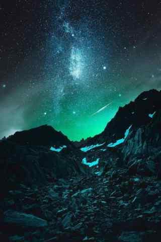 唯美蓝色星空流星