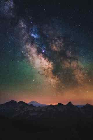 唯美彩色星空下宏