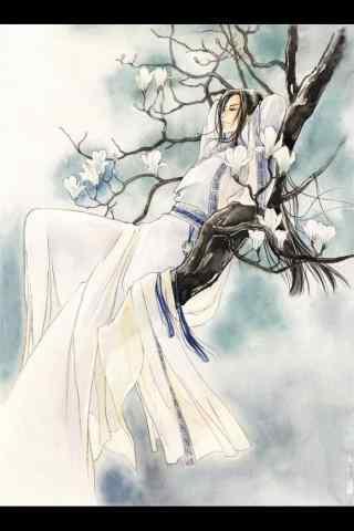 白衣古风美男手绘手机壁纸