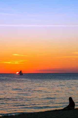 唯美夕阳下的长滩岛风景手机壁纸