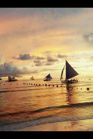 长滩岛的黄昏风景手机壁纸