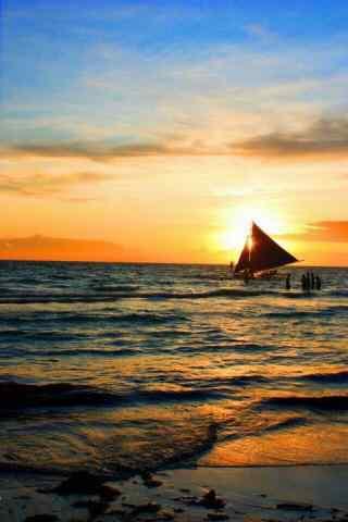 唯美的长滩岛黄昏风景手机壁纸