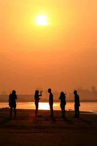 五四青年节创意夕阳下素材图片