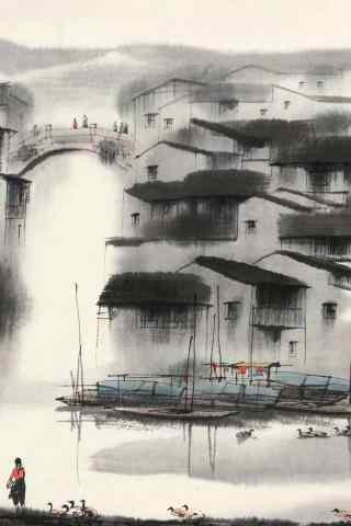 唯美的水墨画烟雨江南手机壁纸
