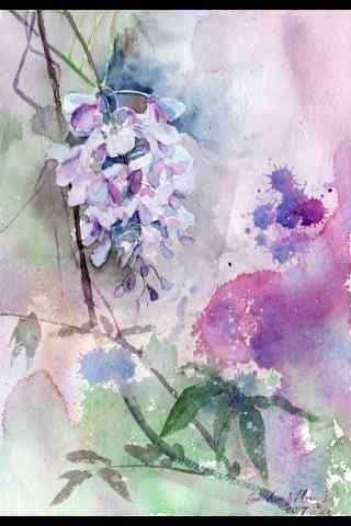 手繪水彩好看的紫藤(teng)蘿手機(ji)壁紙