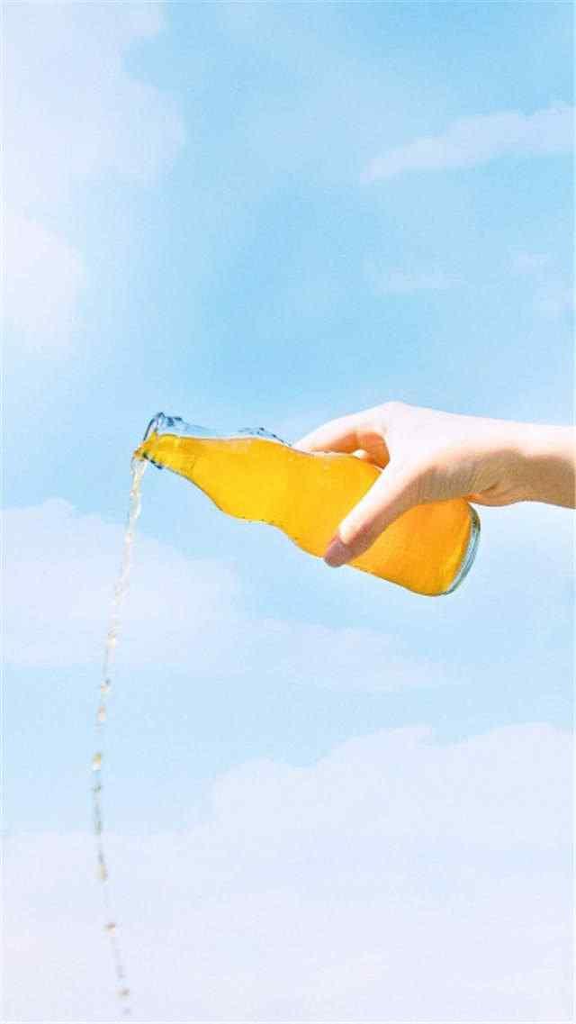 夏日清凉橘子汽水手机壁纸