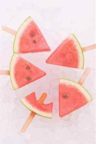 夏日清凉之可爱的西瓜棒冰手机壁纸
