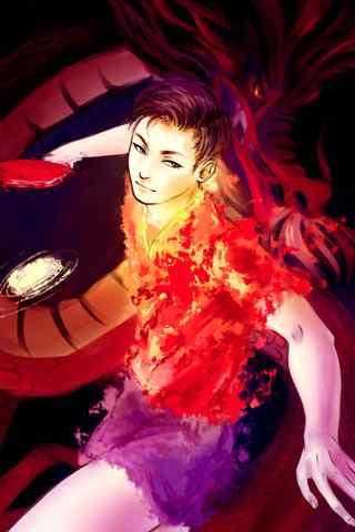 中国队马龙打乒乓球同人画手机壁纸