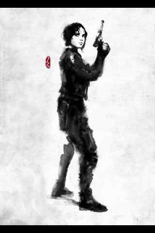 《星球大战外传:侠盗一号》水墨画人物手机壁纸 一