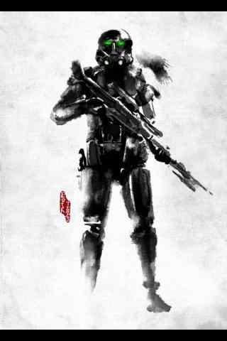 《星球大战外传:侠盗一号》水墨画人物手机壁纸 五