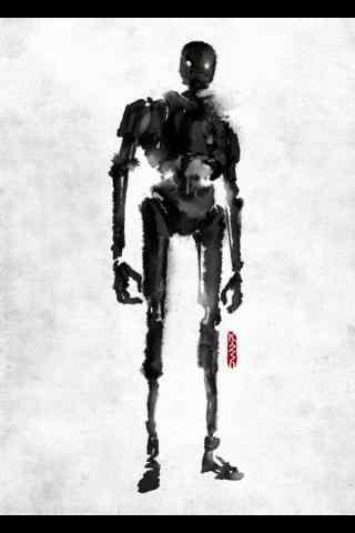 《星球大战外传:侠盗一号》水墨画人物手机壁纸 四