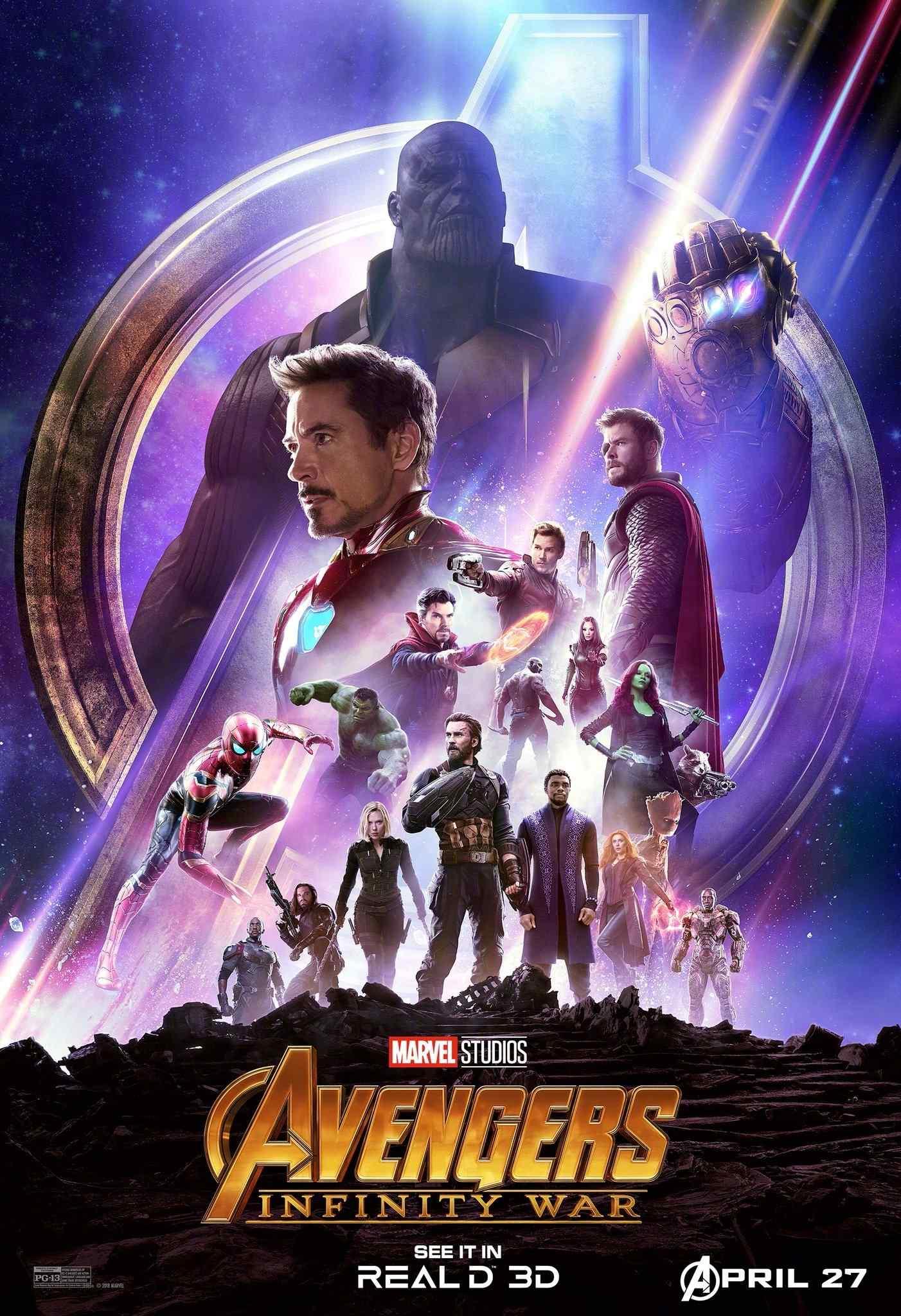 《复仇者联盟3:无限战争》钢铁侠灭霸对抗版高清海报图片