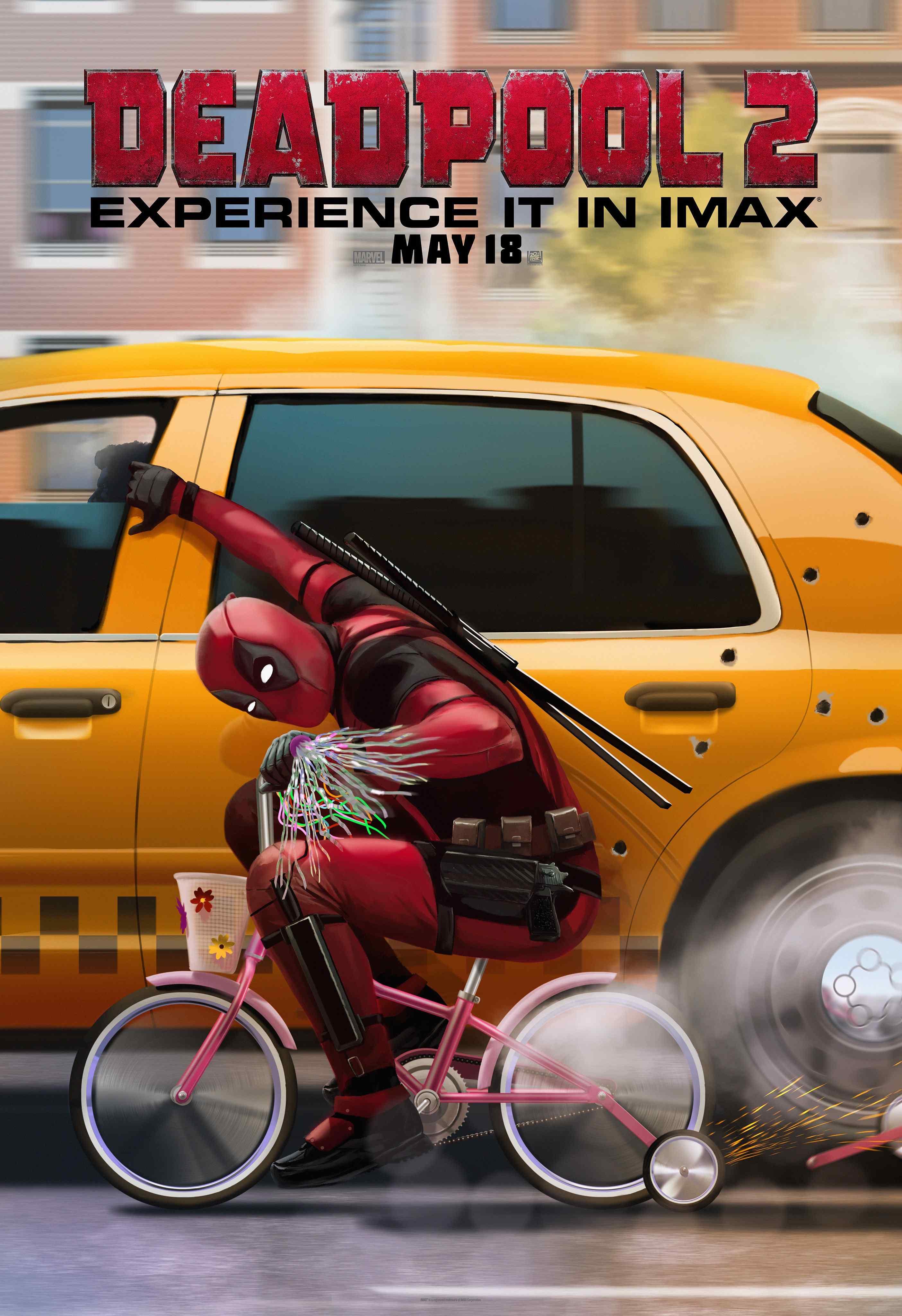 死侍2扒出租车可爱美国海报