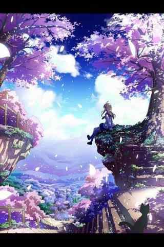 唯美樱花树下的静