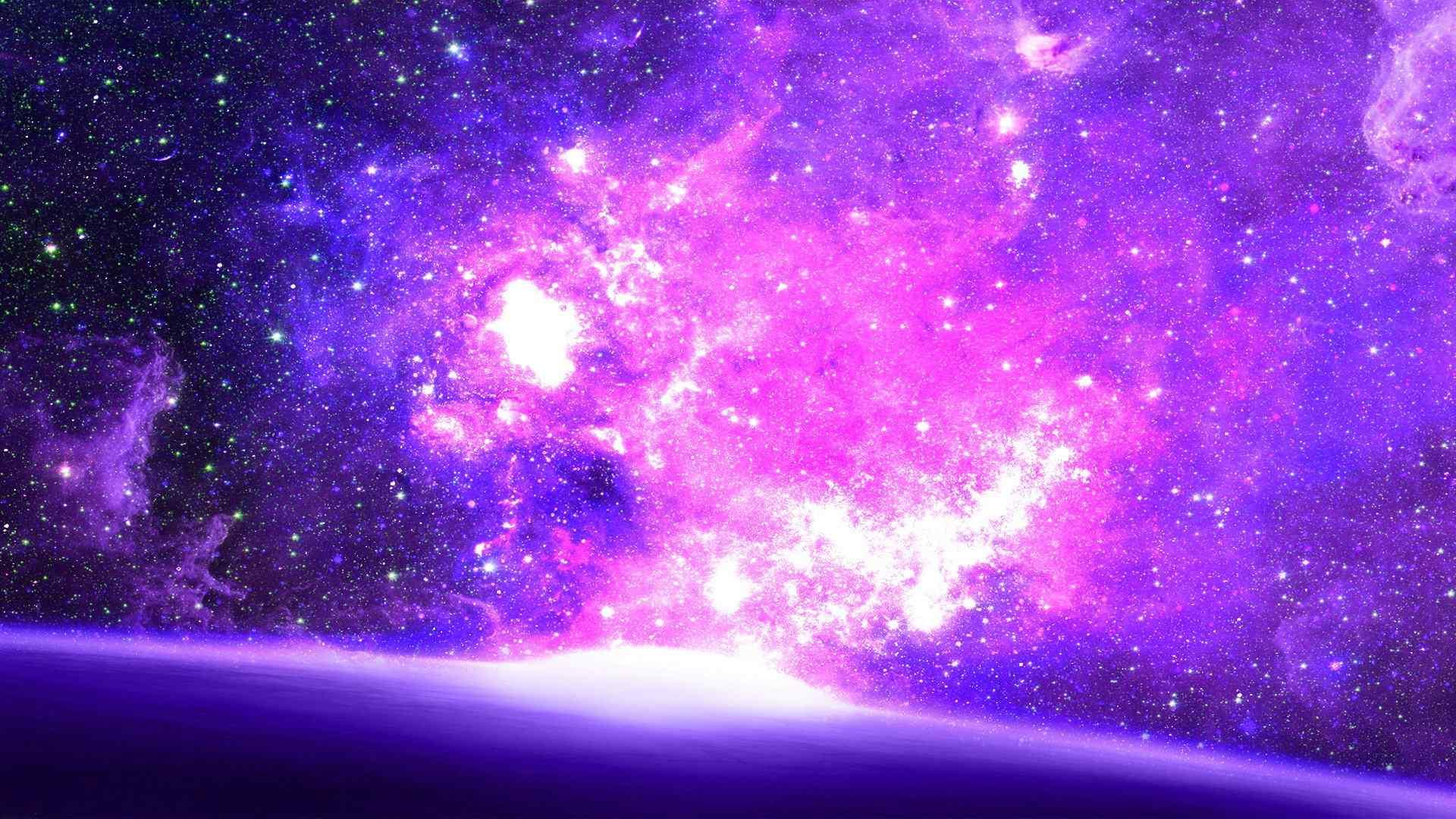 鼠标指针win8_神秘的紫色星空动态屏保 -桌面天下(Desktx.com)