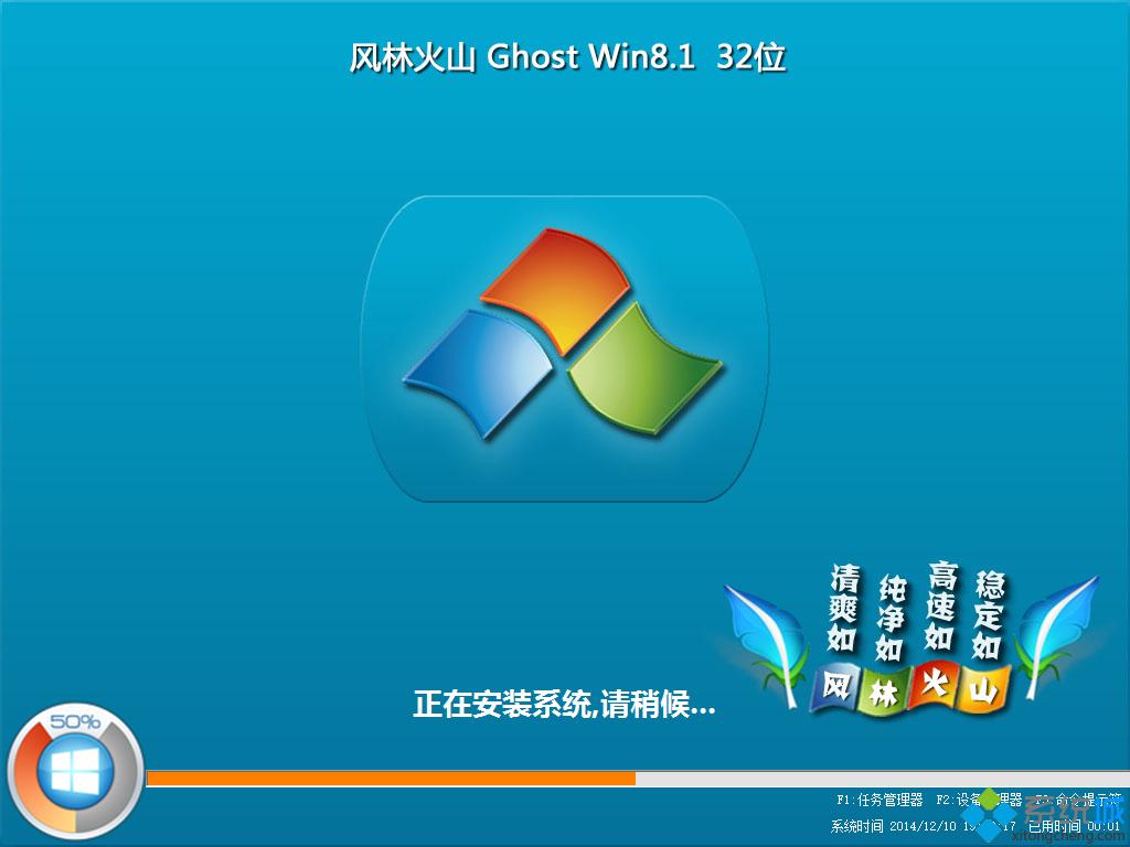 风林火山FLHS ghost win8.1 32位稳定精简版安装过程图