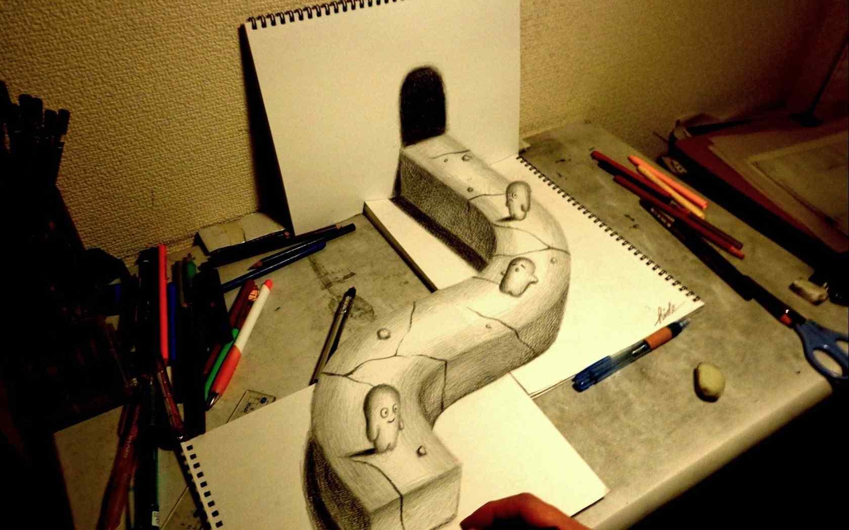 三维立体创意画宽屏壁纸