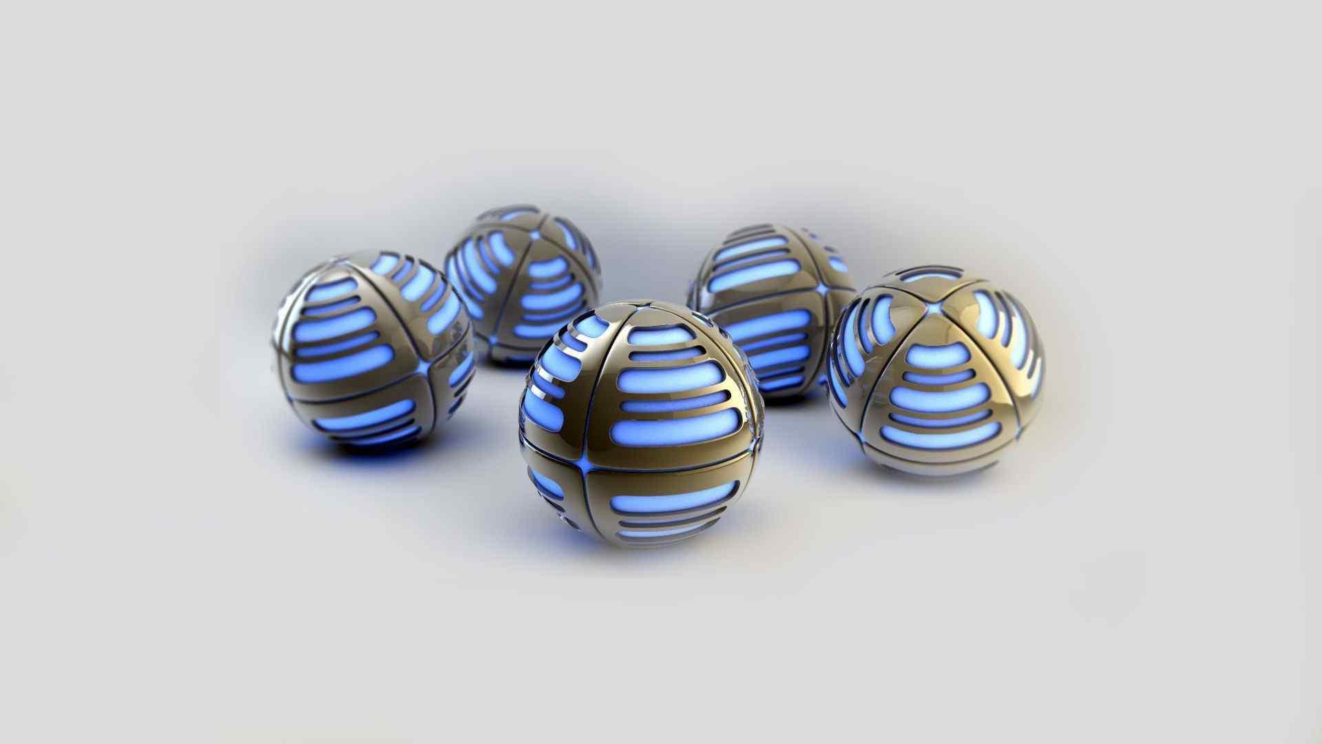 浅蓝色金属球体壁纸