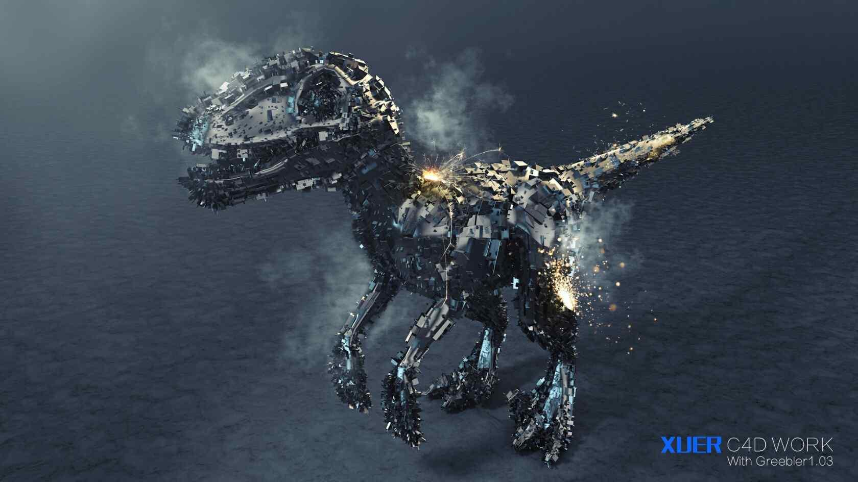 三维立体金属恐龙桌面壁纸