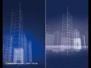 线描城市三维场景高清素材_三维壁纸