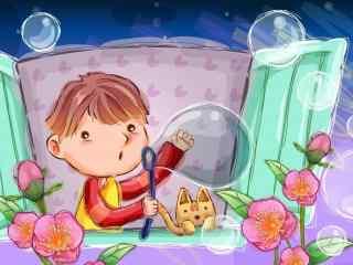 卡通画吹泡泡的小男孩漫画壁纸高清图片