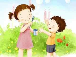 快乐童年孩子吹泡泡漫画壁纸