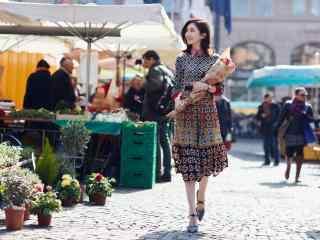 美女江疏影鲜花异国街头写真桌面壁纸