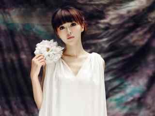 唐嫣小清新纯白连衣裙电脑高清桌面壁纸