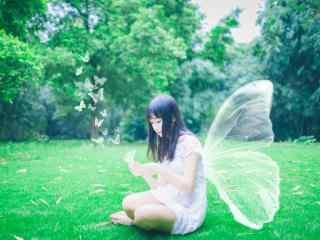 小清新桂林美女蝴蝶装桌面壁纸